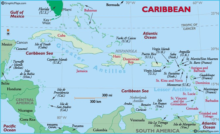 The West Indies - GraphicMaps.com
