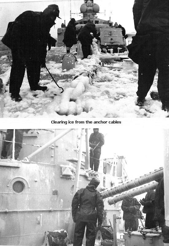 Clearing ice from the ships superstructure