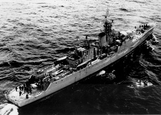 Aerial view HMS Londonderry off Greenland.