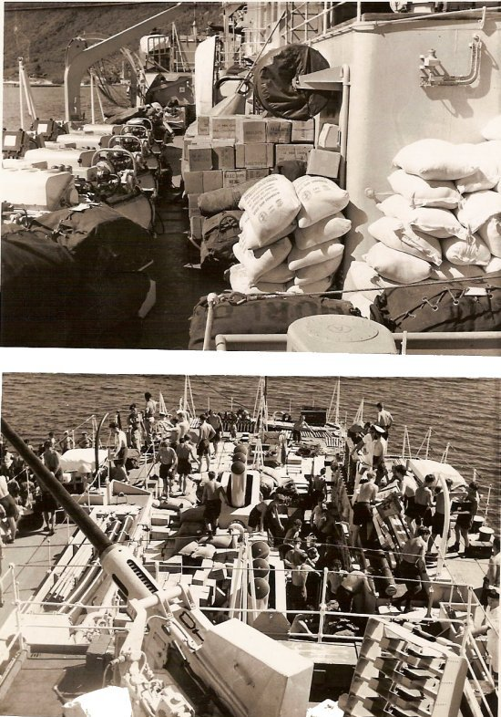 Loading hurricane relief stores for Belize 1961